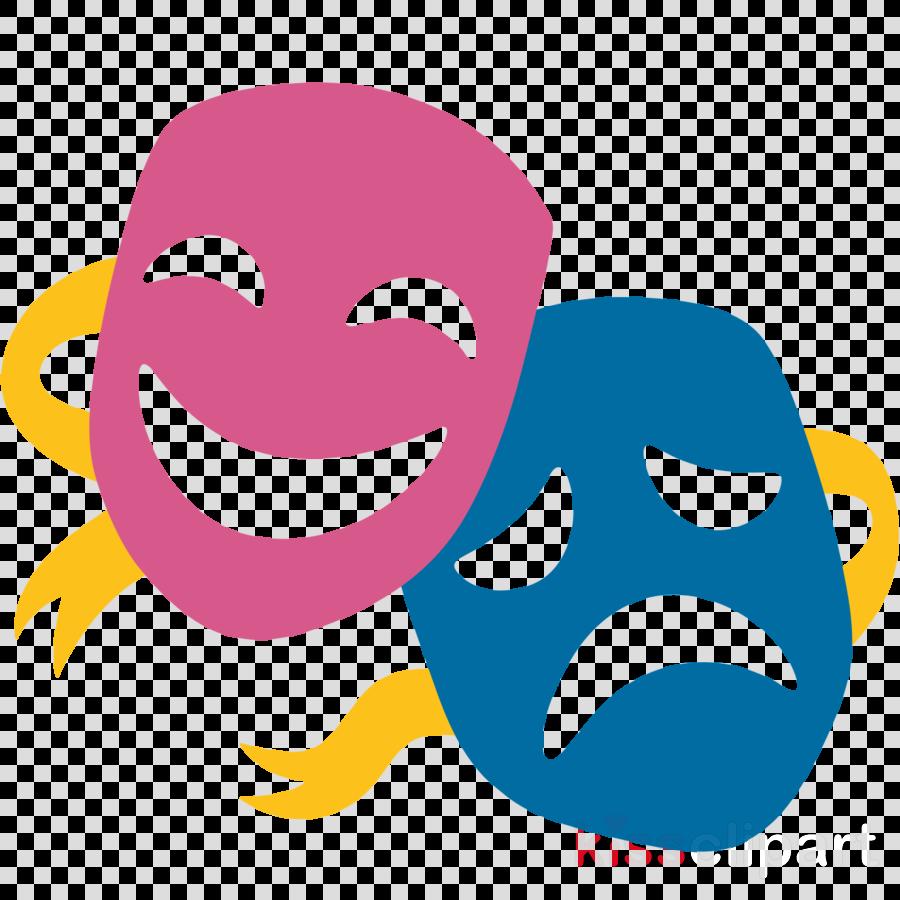 Mask clipart drama. Party emoji face theatre