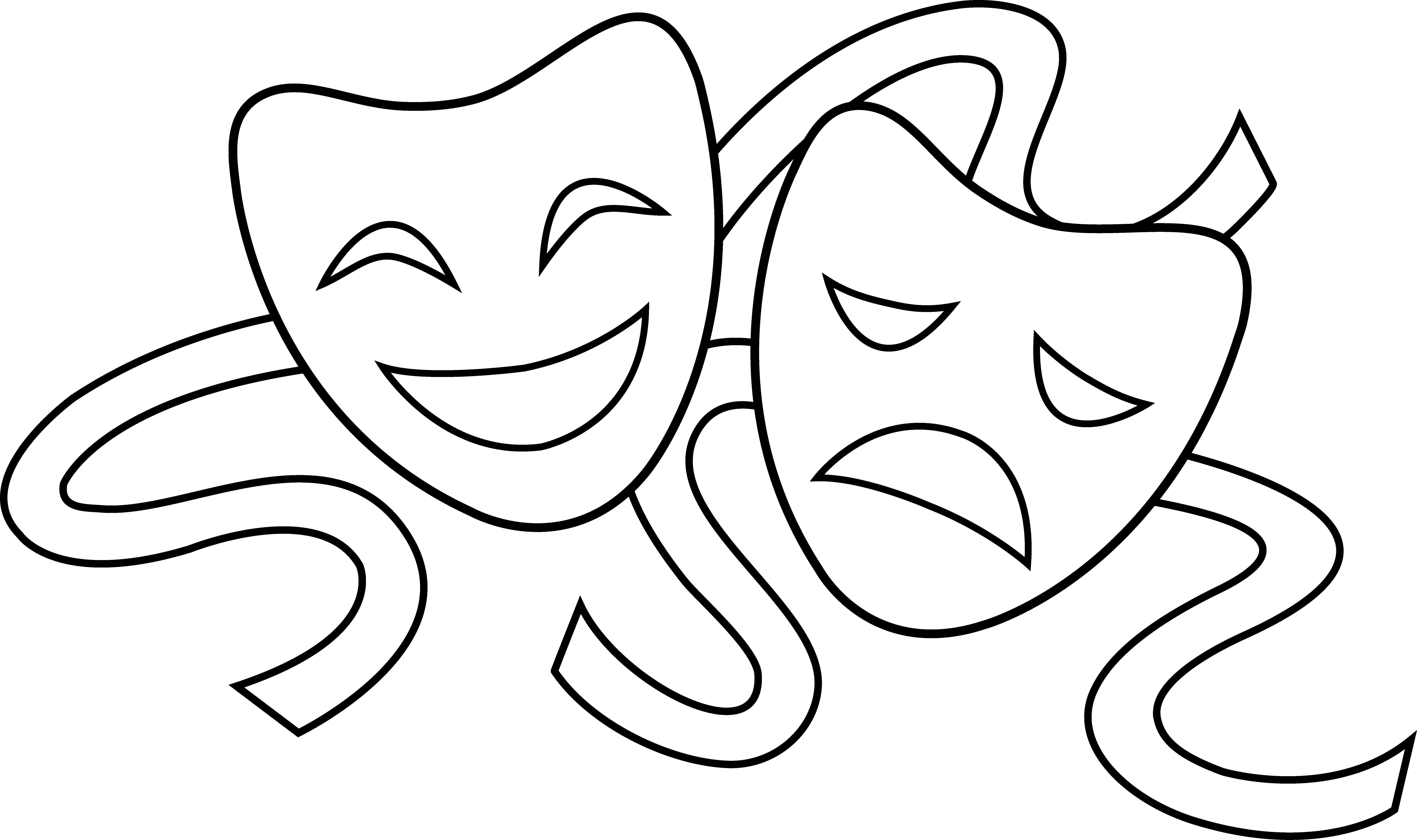 Mask clipart line art. Theatre drawing drama clip