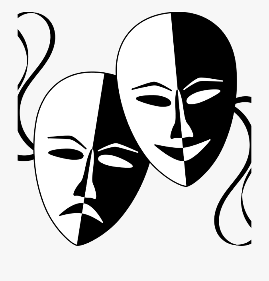 Theater clip free theatre. Mask clipart line art