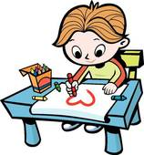 Boy drawing a picture. Draw clipart