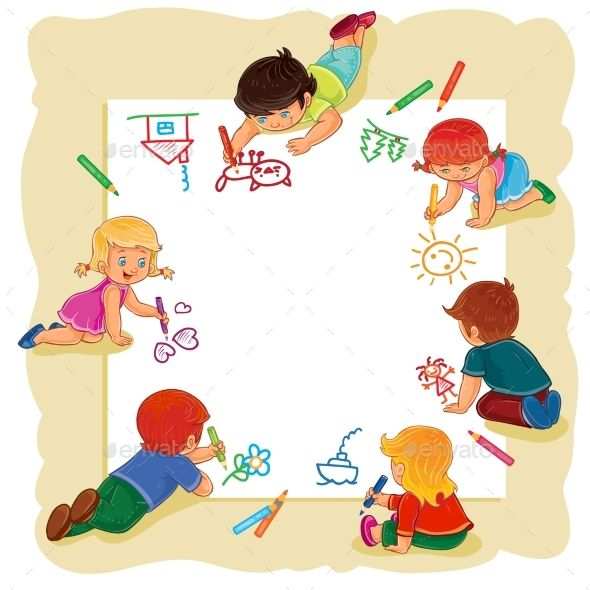 Draw clipart child draw. Happy children together on