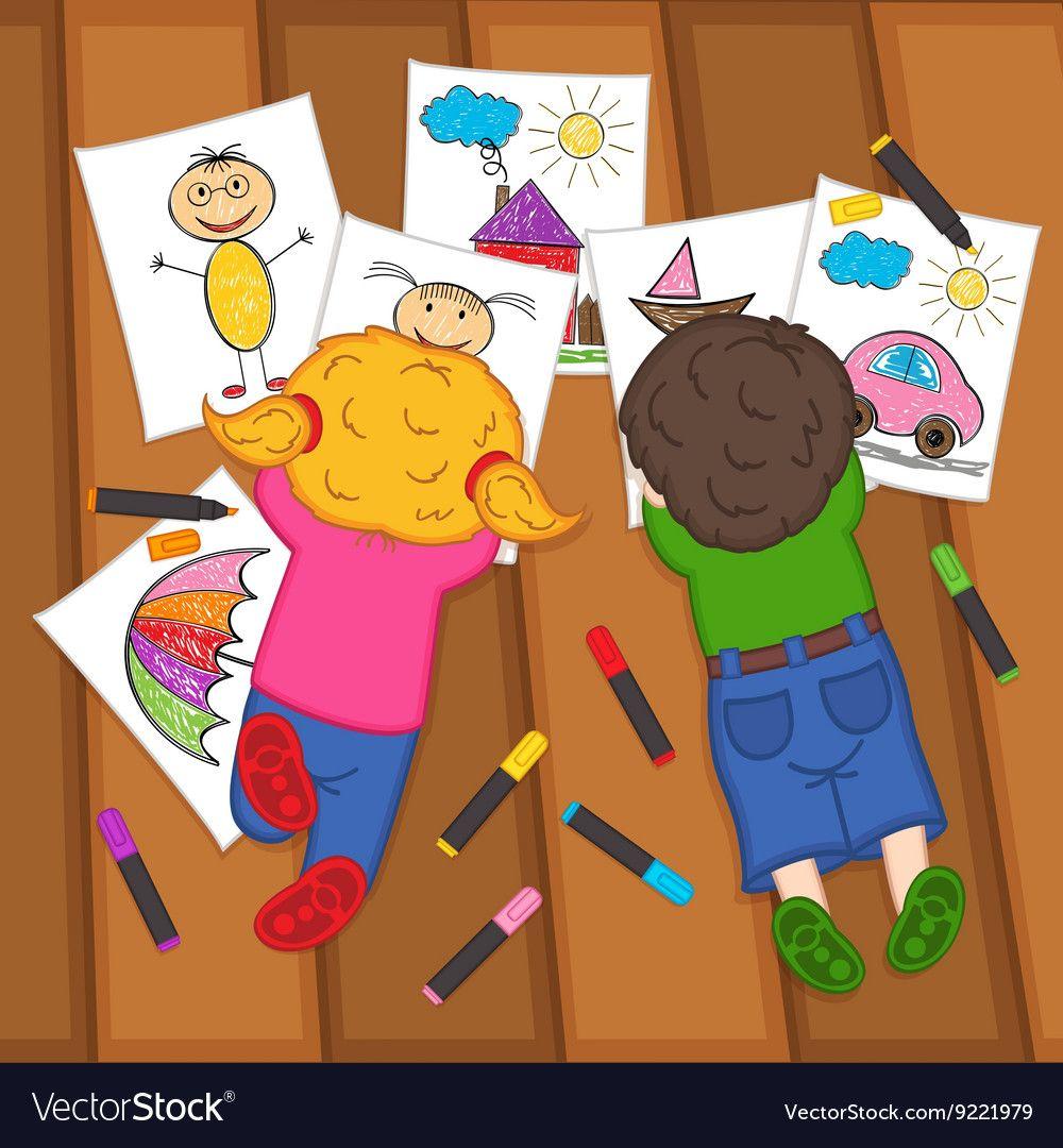 Children on floor royalty. Draw clipart child draw