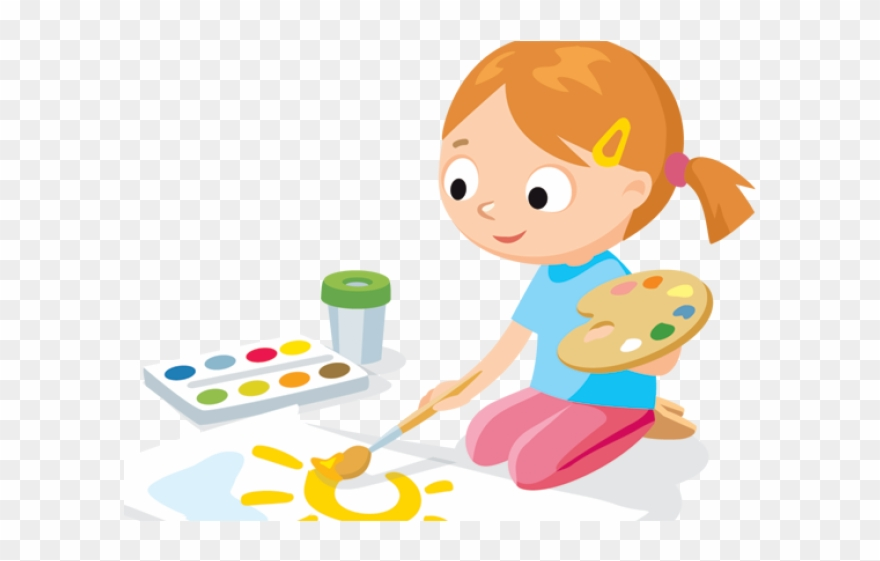 Drawing clipart childrens art. Cute kid painting children