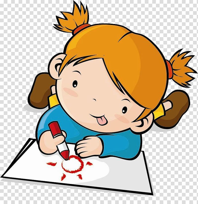 Draw clipart childrens art. Brown haired girl illustration