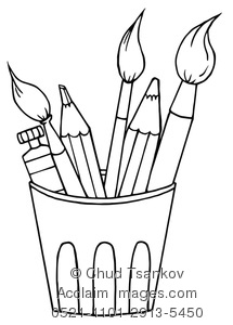 Draw clipart coloring supply. Illustration of art page