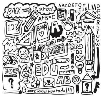 Cartoon hand draw school. Drawing clipart math drawing