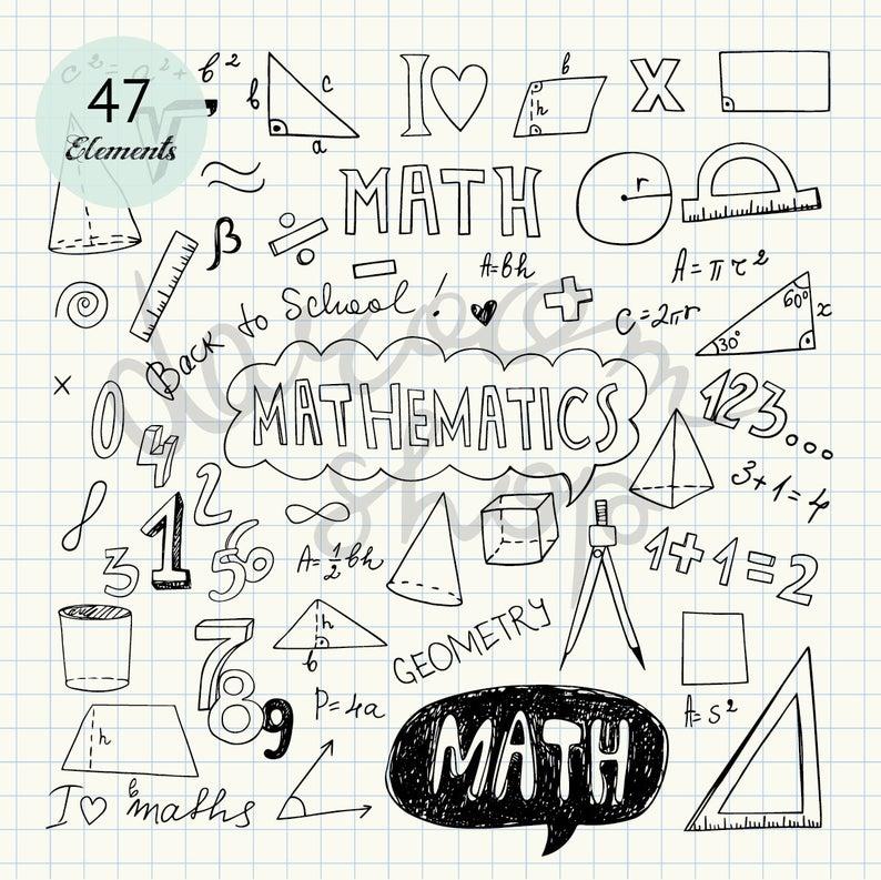 Hand drawn mathematics clip. Draw clipart math drawing