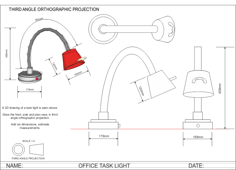 Drawing clipart mechanical drafting. Orthogonal projections lamp cerca
