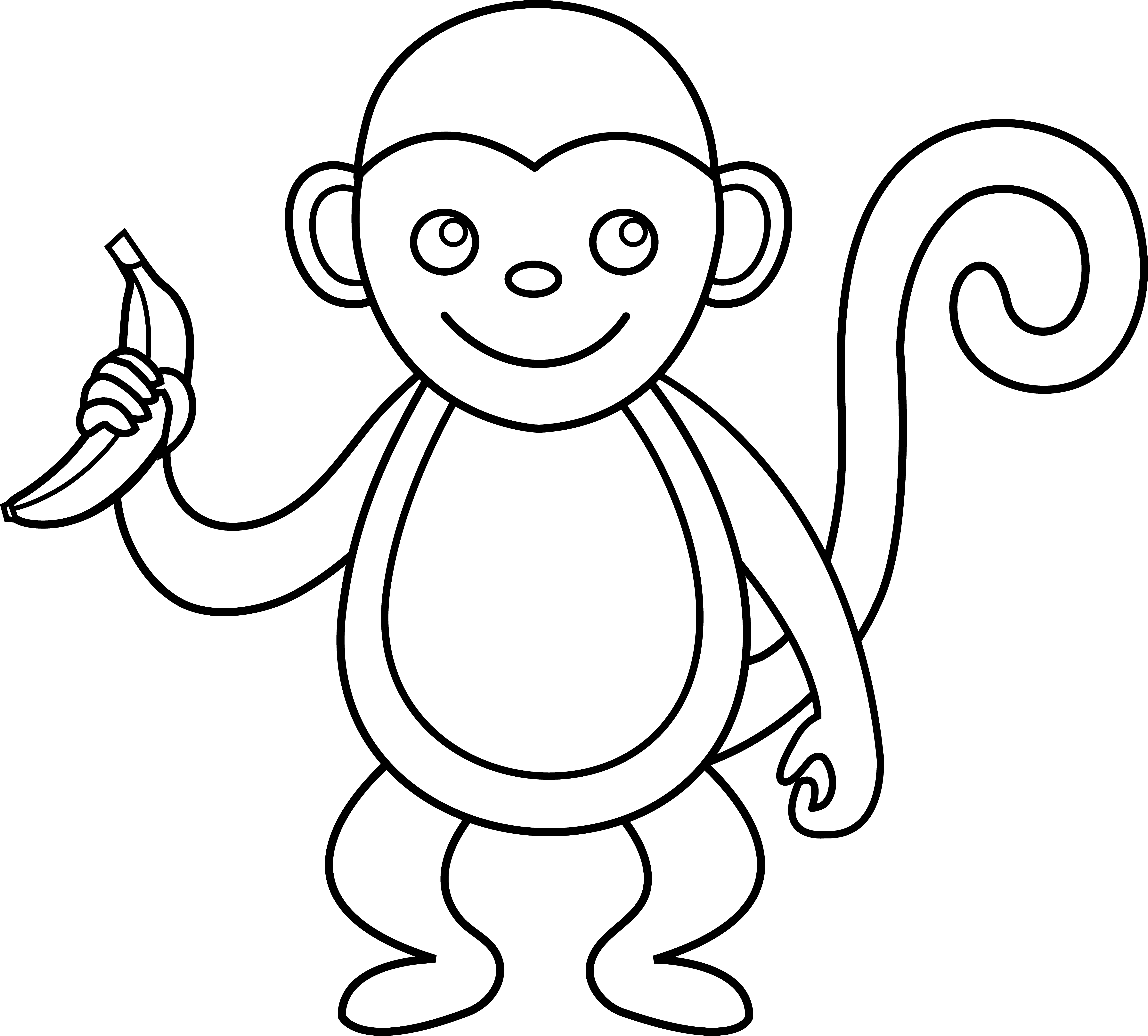 Free outline of a. Food clipart monkey