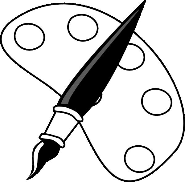 Paintbrush clipart black and white. Paint palette clip art