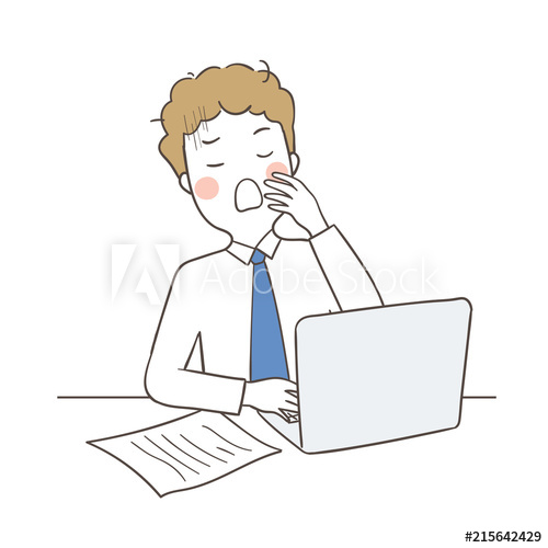 Business man yawning at. Draw clipart work time