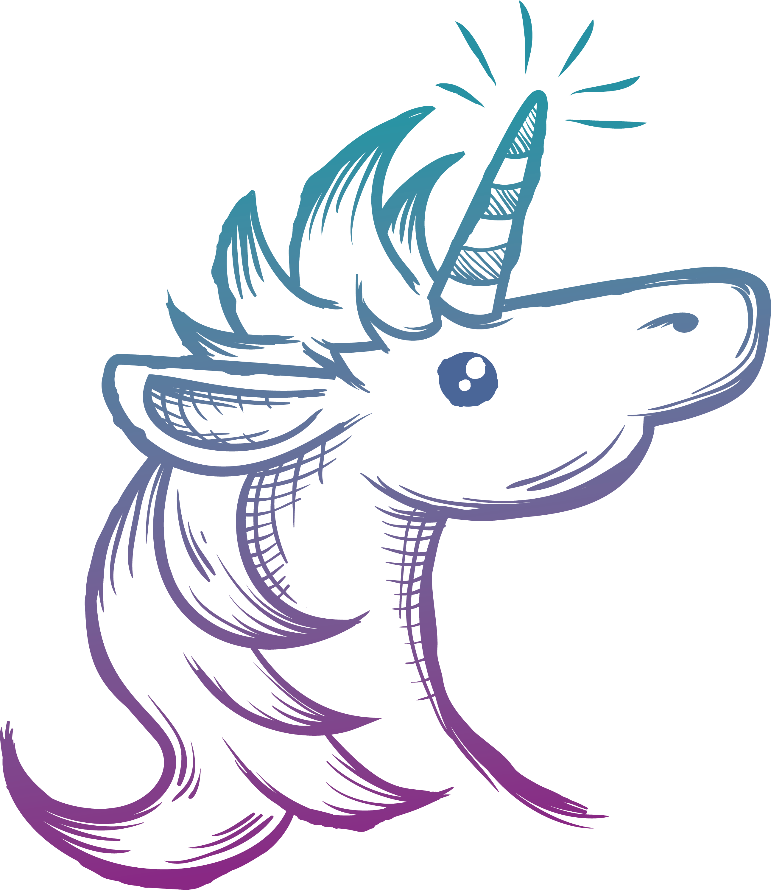 Unicorn painted with gradient. Drawing clipart hand painting