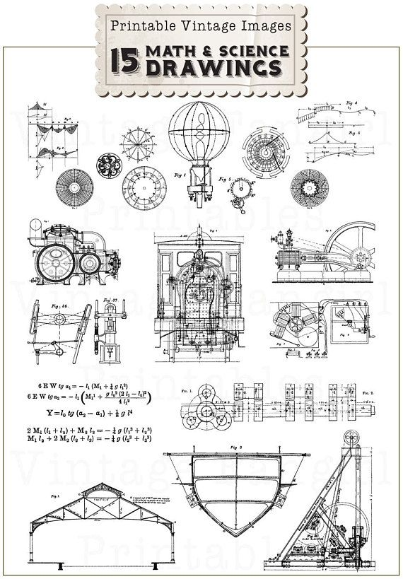 New vintage science drawings. Drawing clipart math drawing