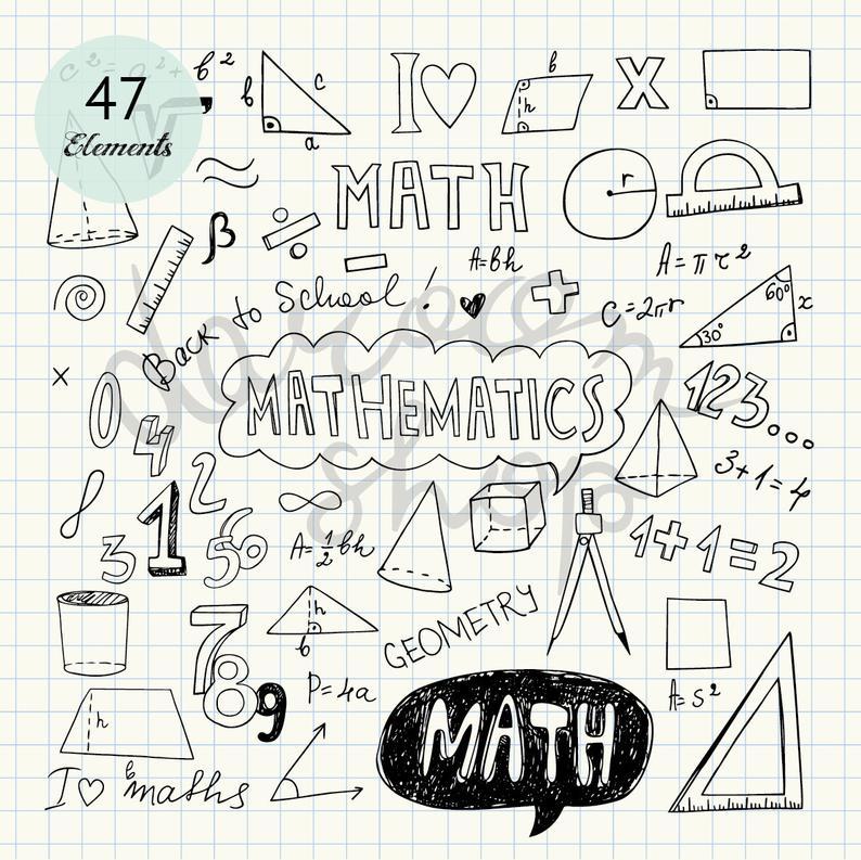 Hand drawn mathematics clip. Drawing clipart math drawing