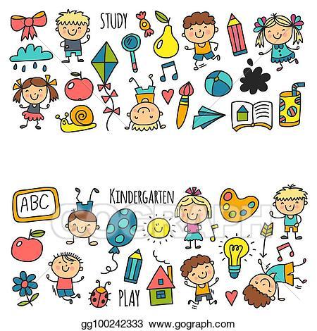 Vector art kids drawing. Nursery clipart kindergarten