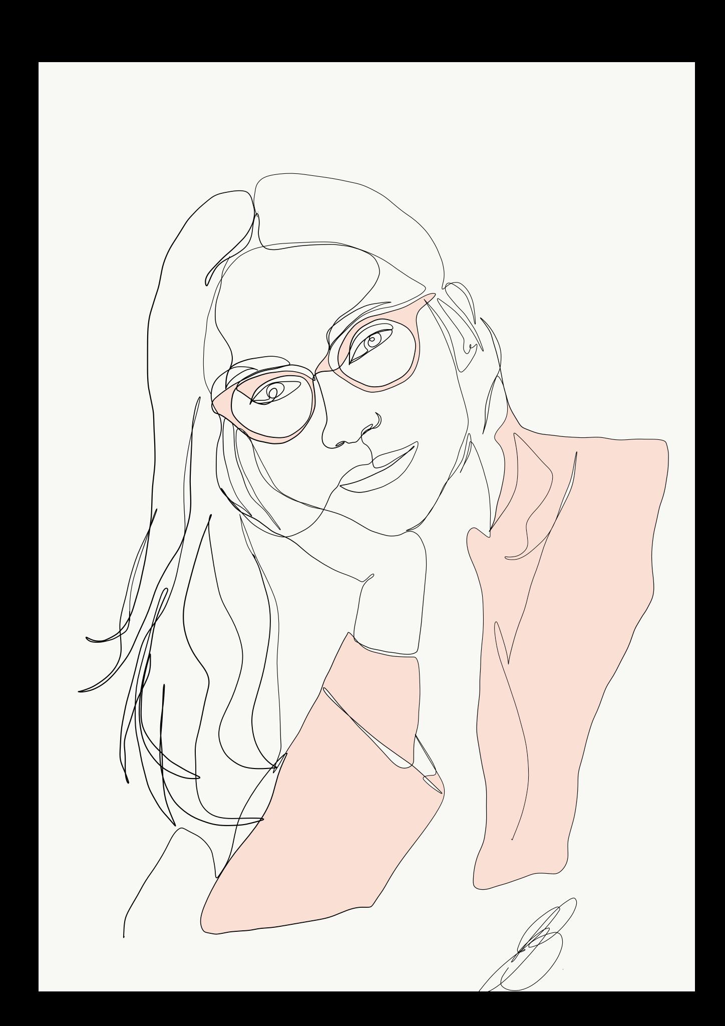 Emma ryan line portrait. Drawing clipart single woman