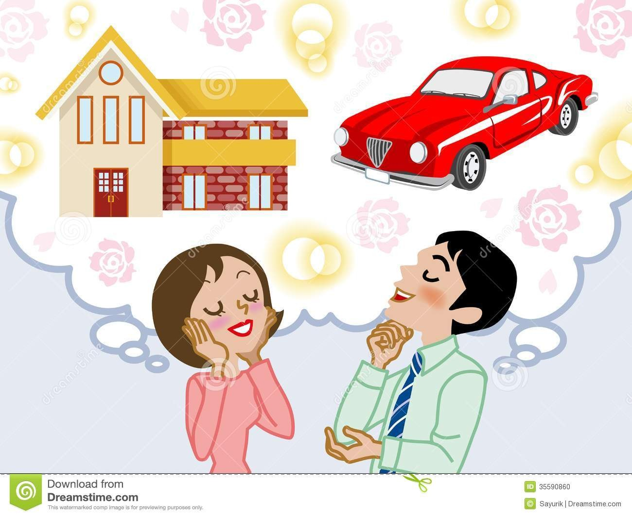 Within house couple car. Dreaming clipart dream family