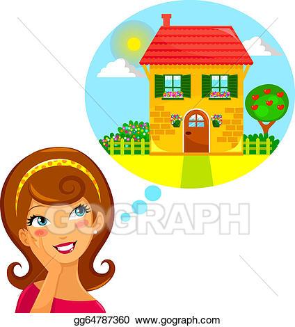Vector illustration eps gg. Dreaming clipart dream home