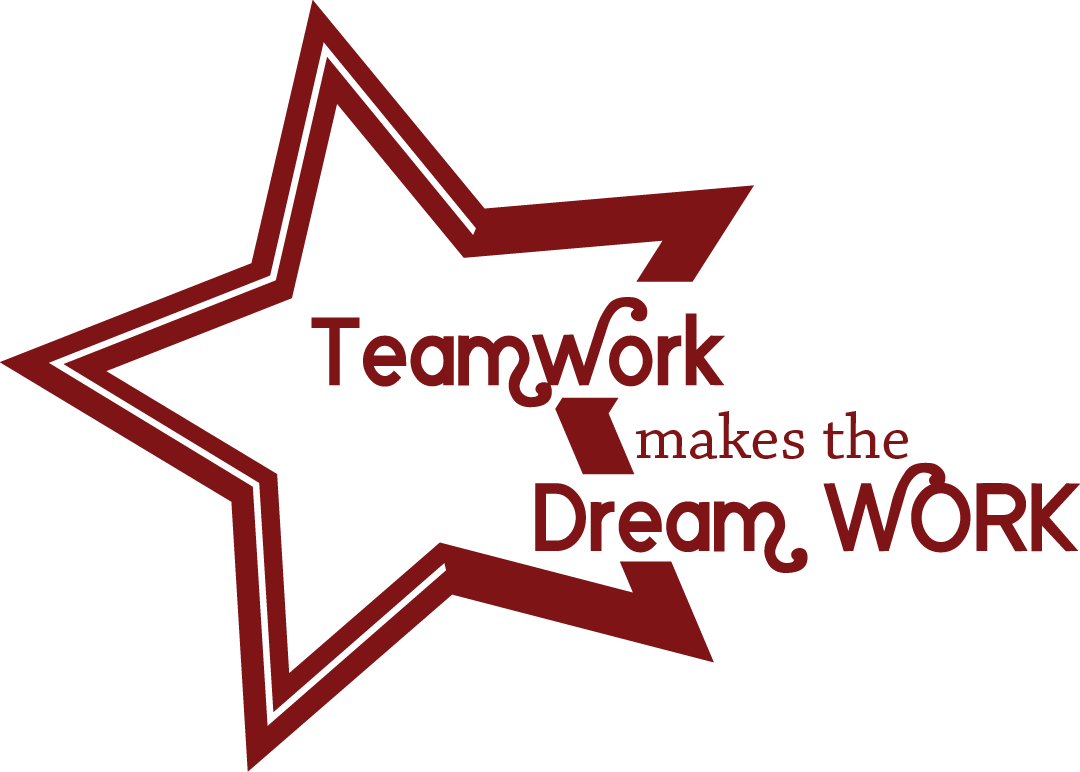 Teamwork clipart teamwork makes the dream work. Dcl dark red so