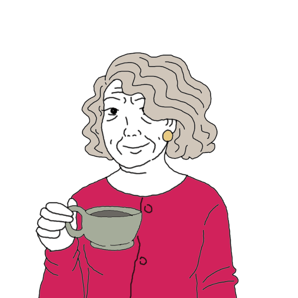 Old woman dream dictionary. Dreaming clipart happy person