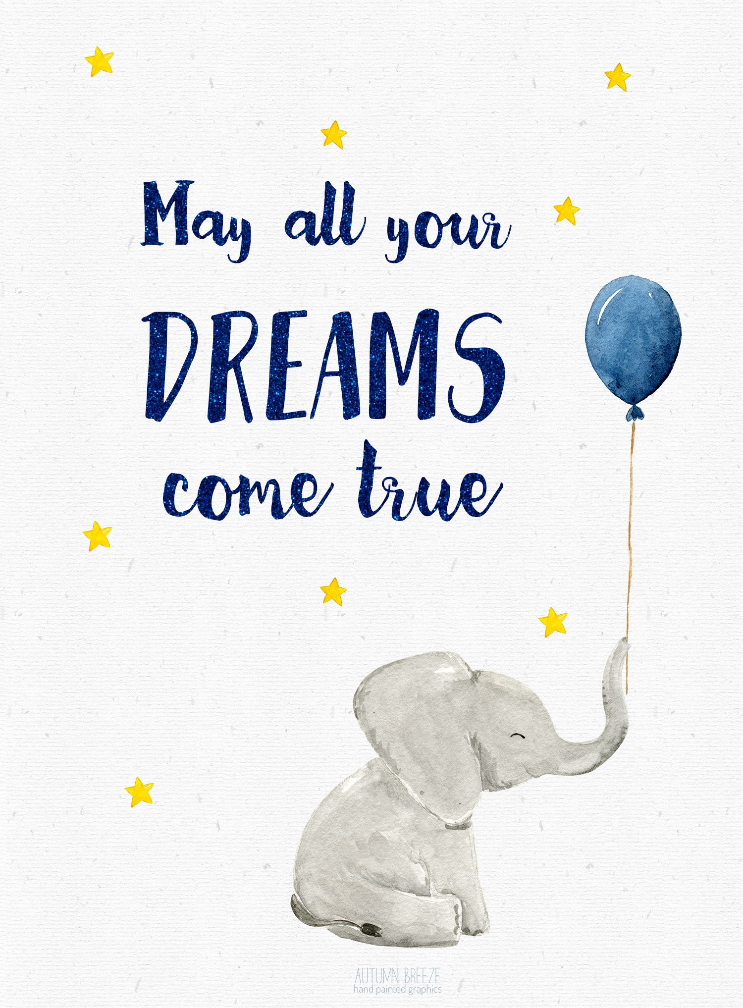 Watercolor baby elephant . Dreams clipart inspiration