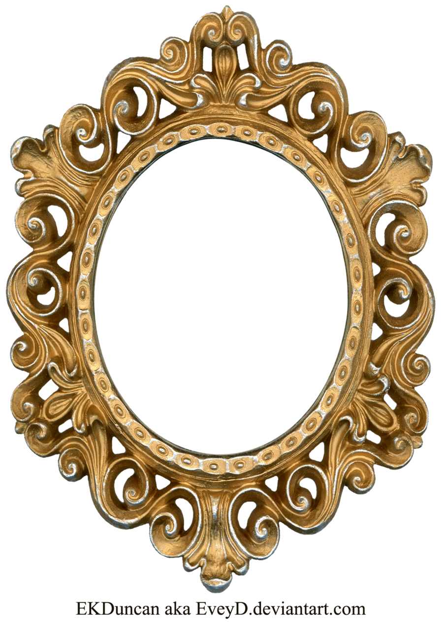 Gold and silver oval. Vintage frame png