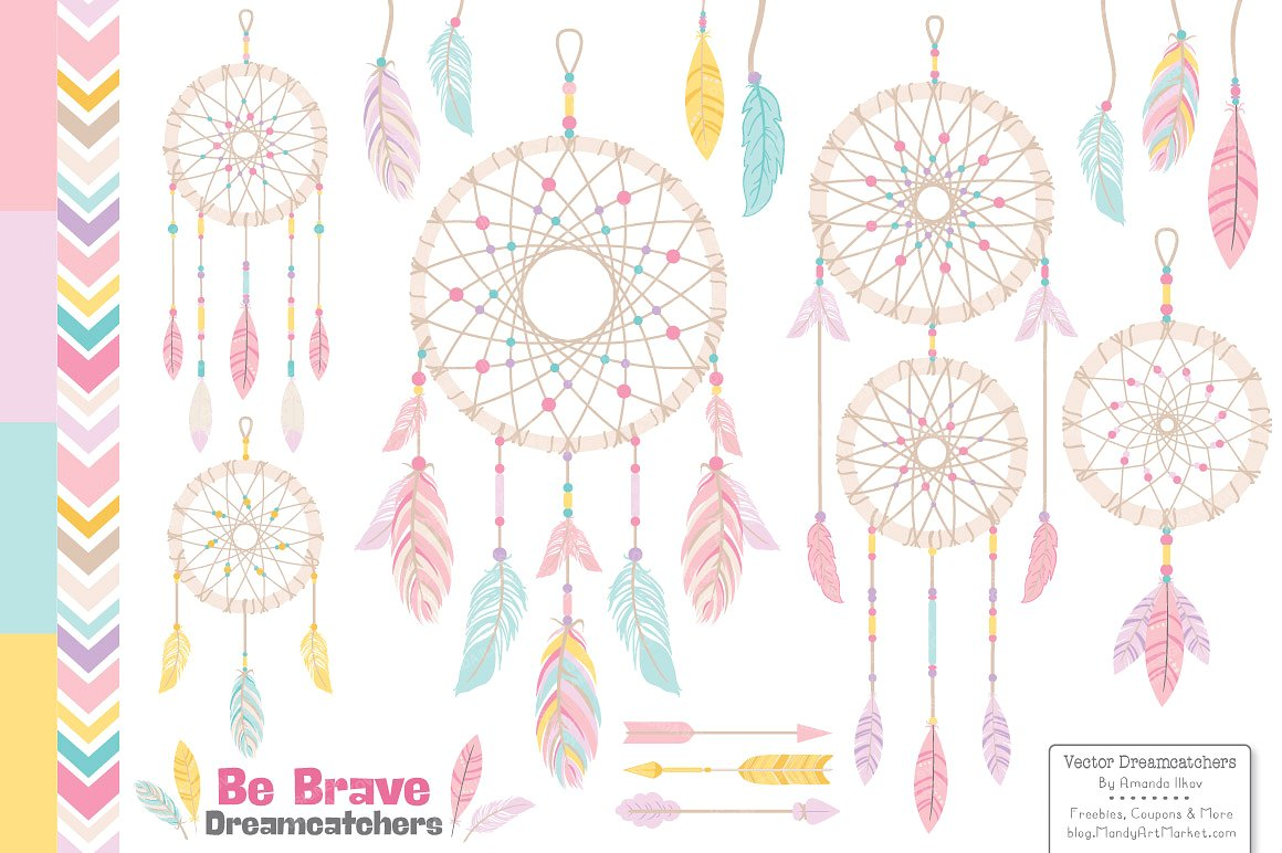 Pink vectors illustrations creative. Dreamcatcher clipart