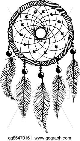 Dreamcatcher clipart bead tattoo. Vector illustration line art