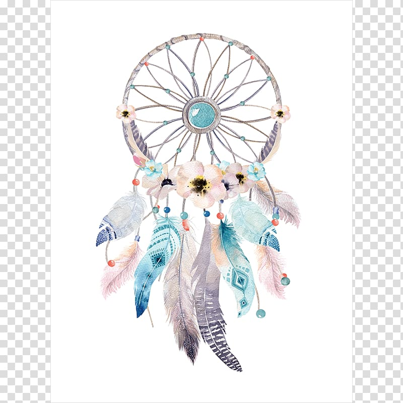 Dreamcatcher clipart boho chic. Multicolored illustration