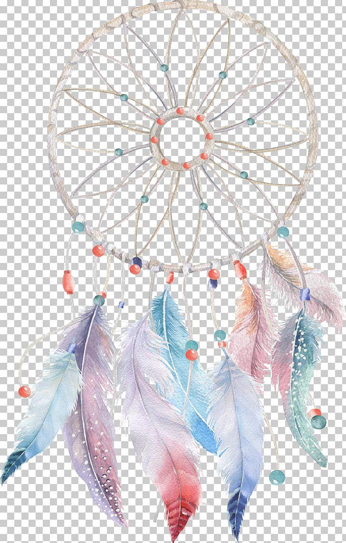 Watercolor painting png art. Dreamcatcher clipart boho chic