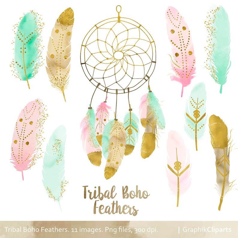 Magic feathers clip art. Dreamcatcher clipart boho chic