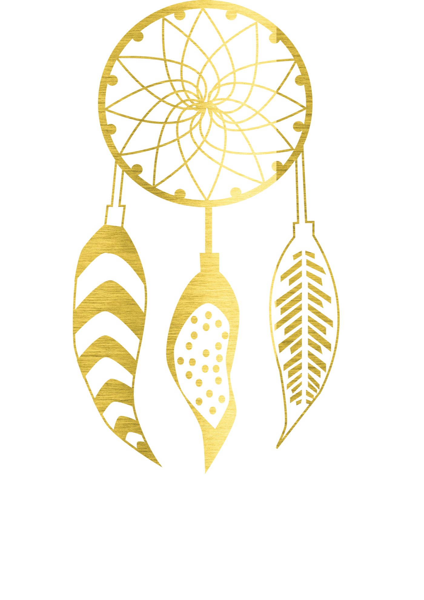 Foil print . Dreamcatcher clipart gold