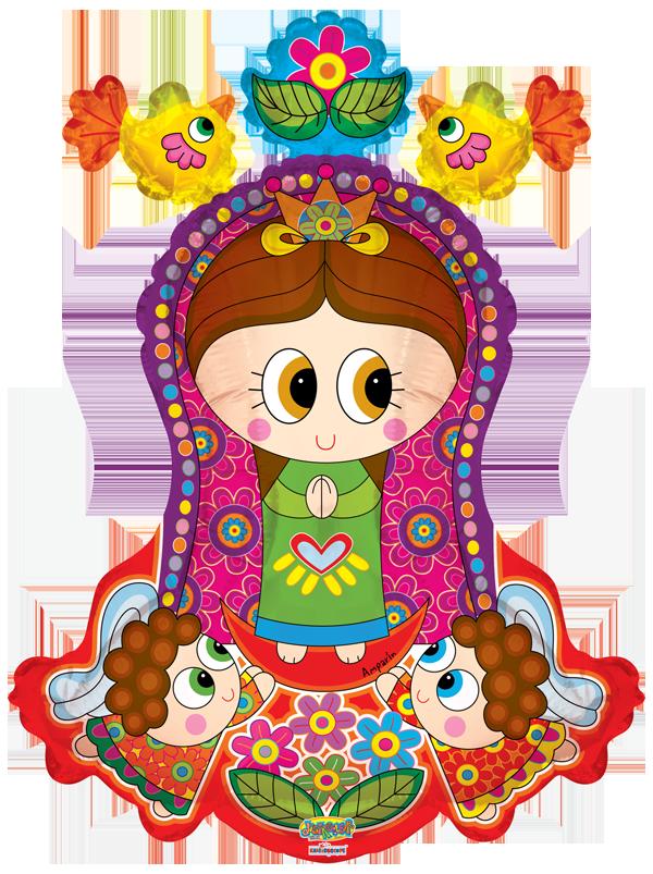 Virgencita distroller con angelitos. Handwriting clipart priestess