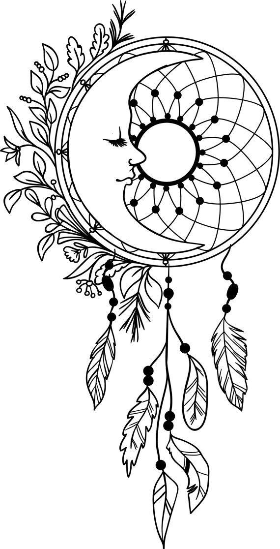 Dreamcatcher clipart mandala. Moon dream catcher feathers