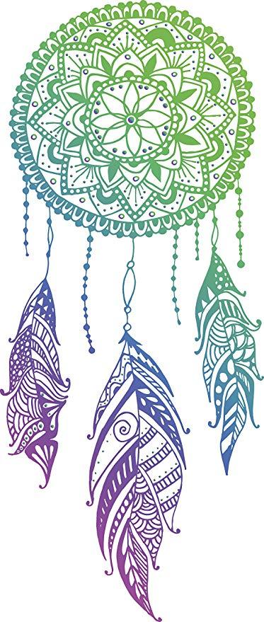 Green blue purple ombre. Dreamcatcher clipart mandala