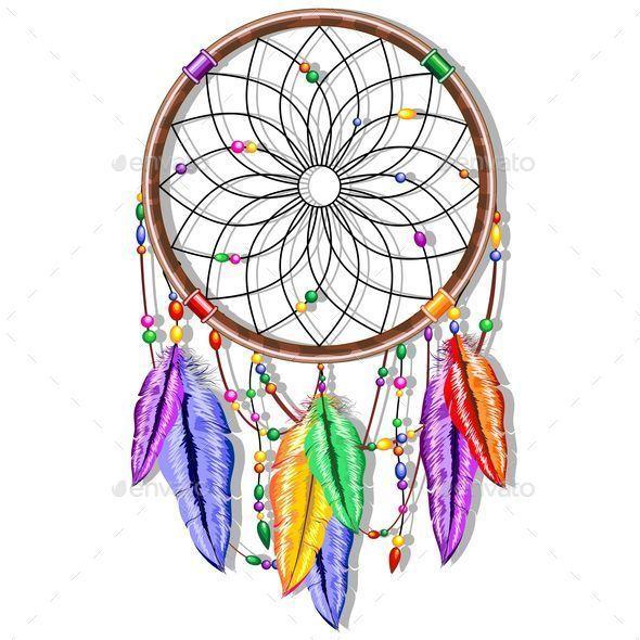 Feathers decorative symbols . Dreamcatcher clipart rainbow