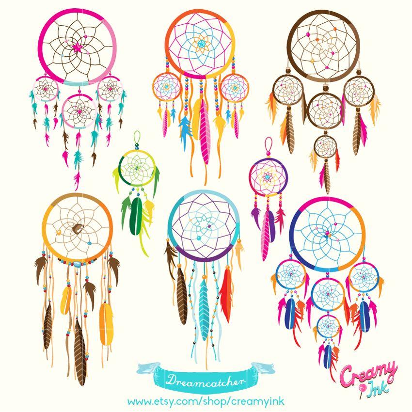 Dreamcatcher digital clip art. Dreaming clipart colorful