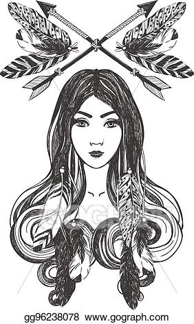 Dreamcatcher clipart woman. Vector stock with feathers