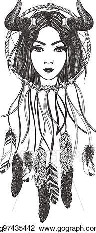 Vector stock with feathers. Dreamcatcher clipart woman