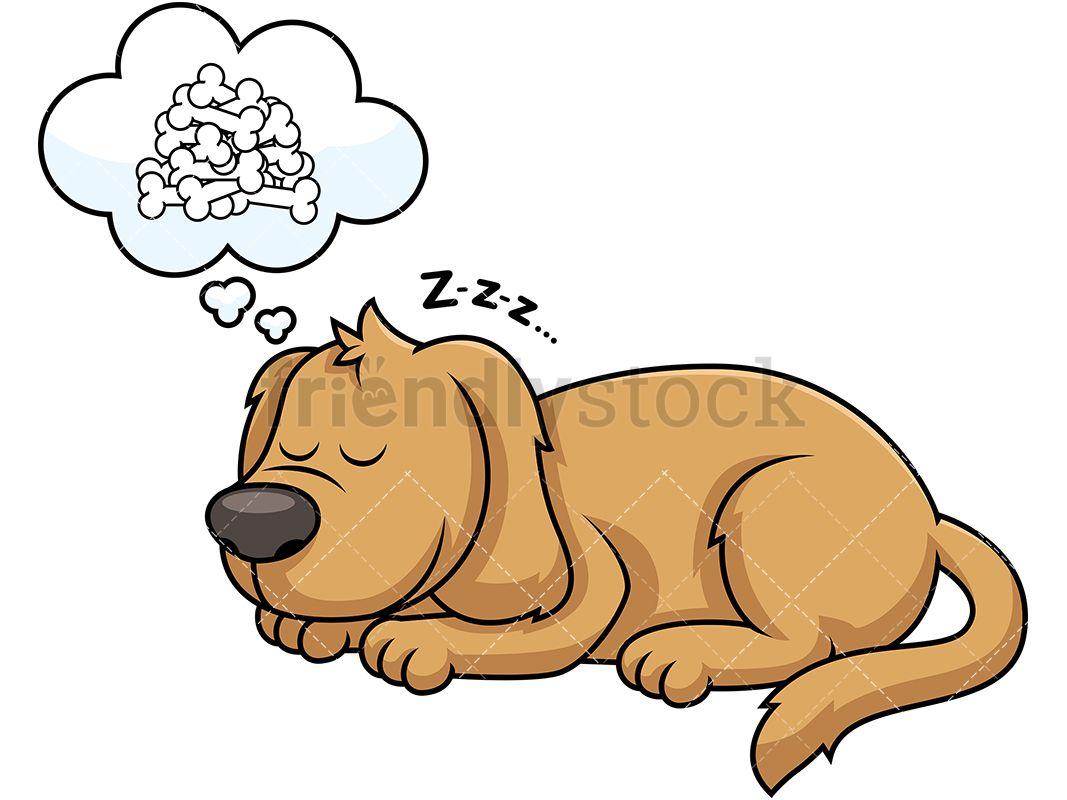 Sleeping dog about bones. Dreaming clipart cartoon