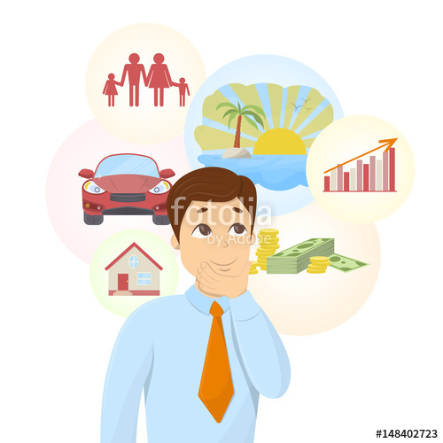 Dreaming clipart dream car. Isolated businessman with bubbles