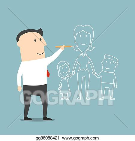Vector stock businessman about. Dreaming clipart dream family