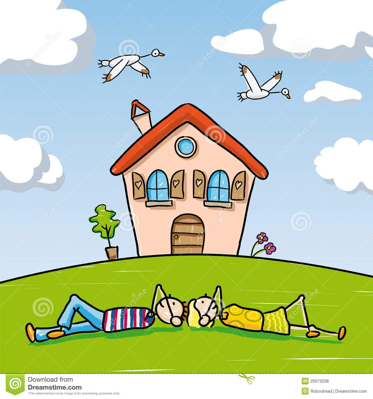Within house couple car. Dreaming clipart dream home