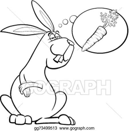 Dreaming clipart dream line. Vector stock rabbit about