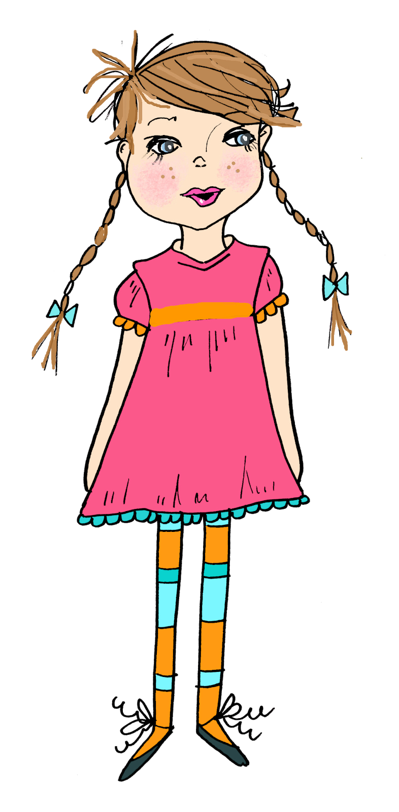 Little girl elegant with. Lady clipart thinking