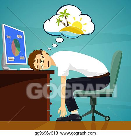 Eps illustration worker in. Dreaming clipart tired