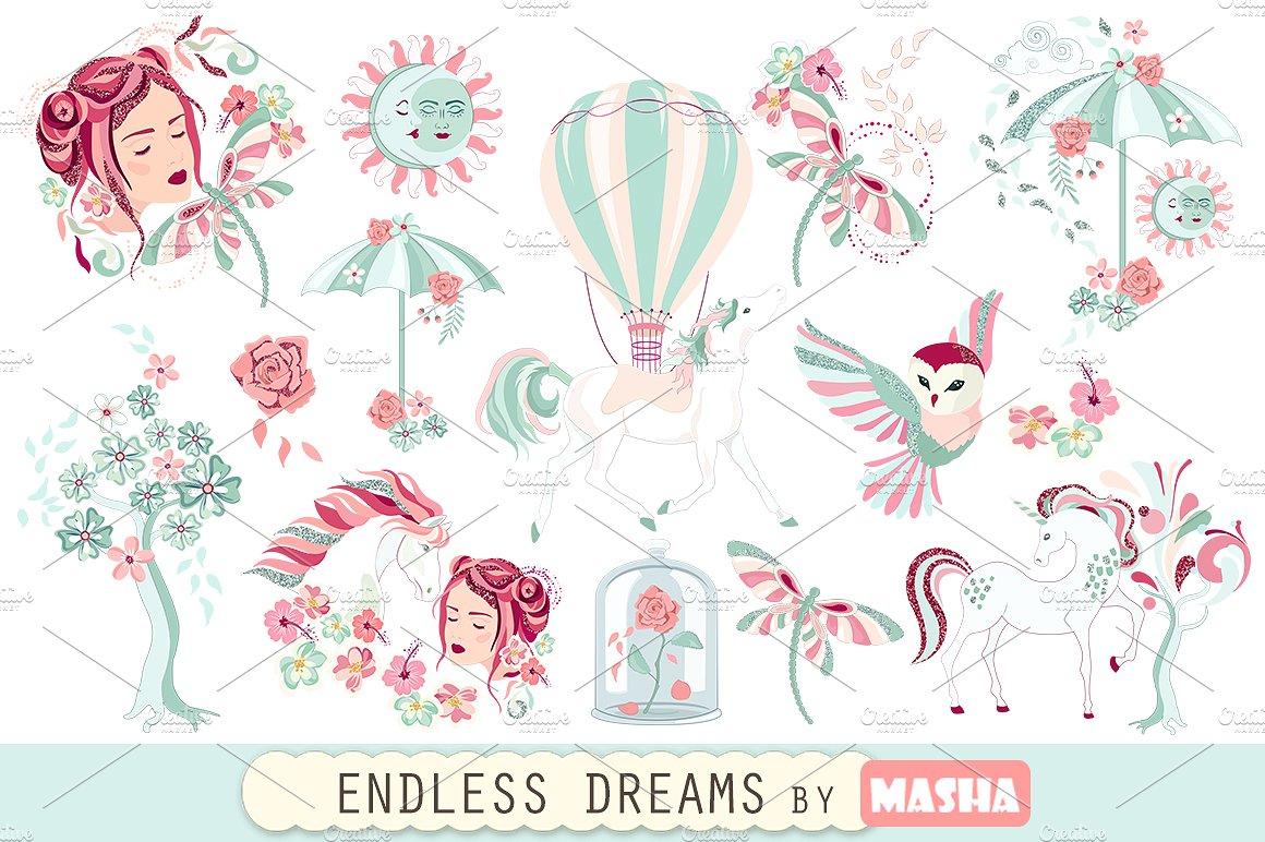 Dreams clipart. Endless illustrations creative market