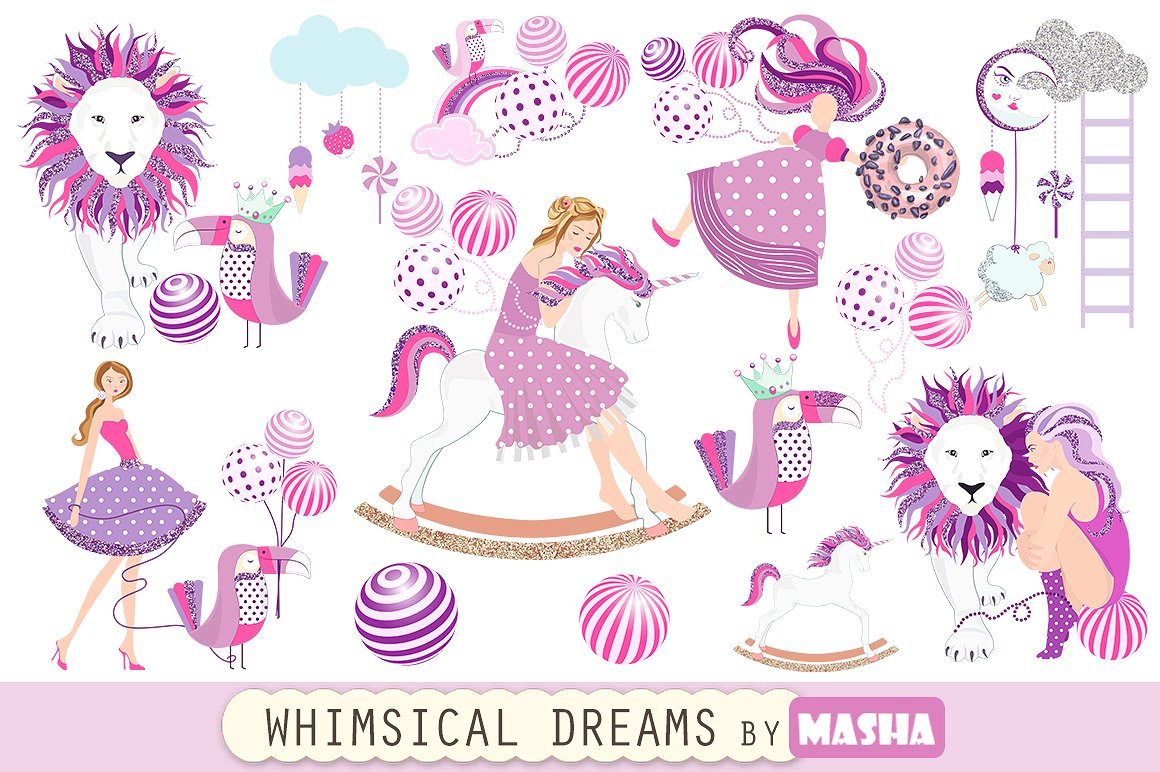 Whimsical illustrations creative market. Dreams clipart