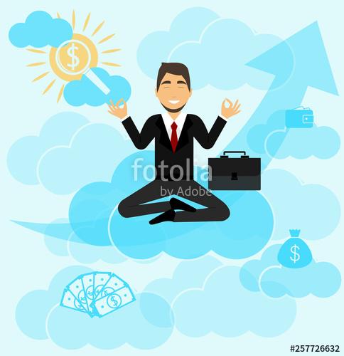 Dreams clipart big money. A businessman meditates he