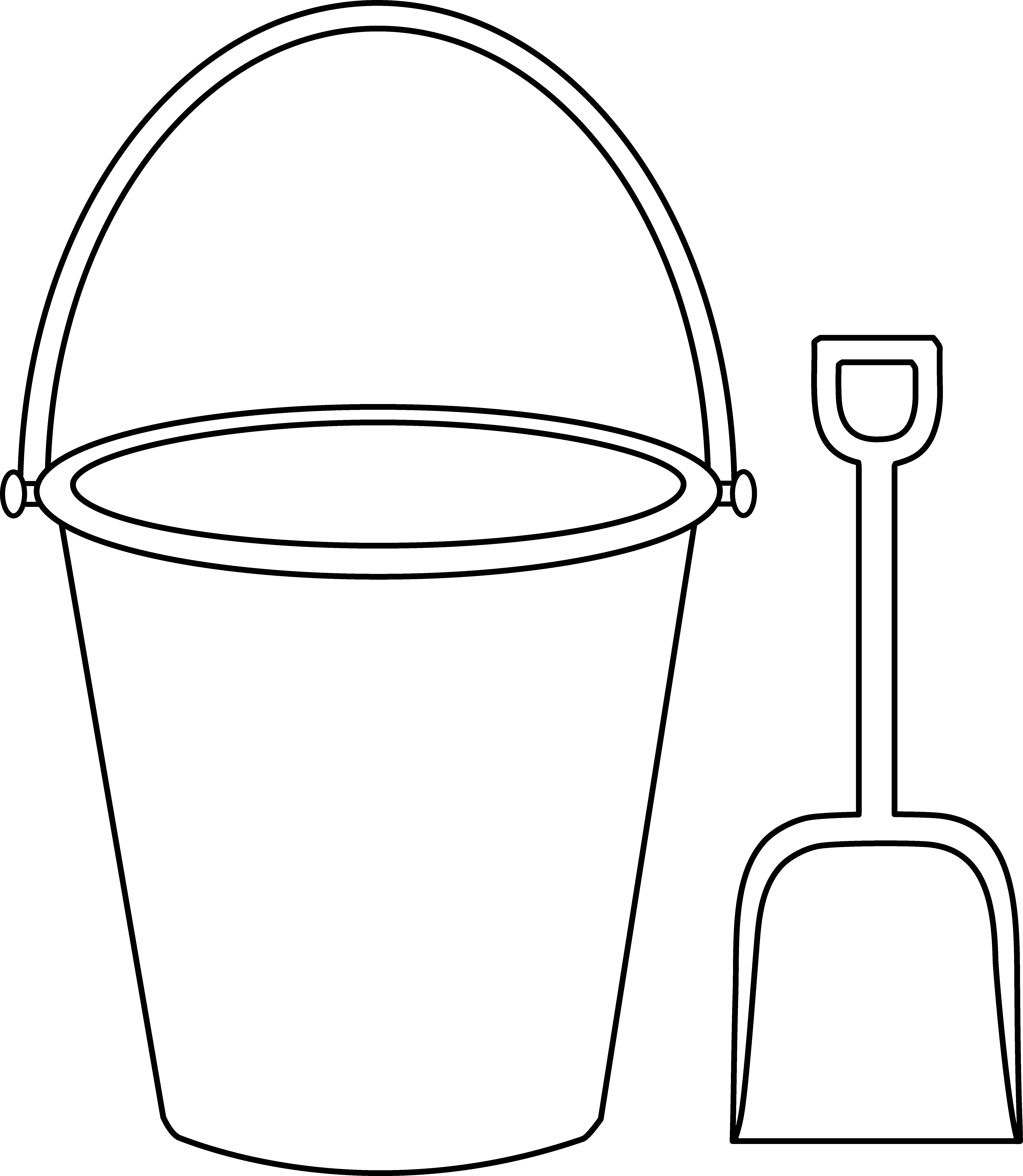 Square clipart shovel. Bucket and outline summer